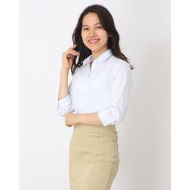 形態安定ノーアイロン  ワイドダブル衿 七分袖ビジネスワイシャツ (ライトブルー)