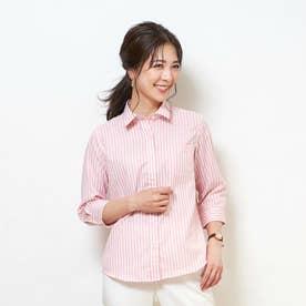 形態安定ノーアイロン レギュラー衿 やわらかガーゼ 七分袖ビジネスワイシャツ (ベビーピンク)