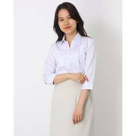 形態安定ノーアイロン スキッパー衿 七分袖ビジネスワイシャツ (ラベンダー)