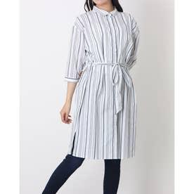 レギュラー衿 リボン付き七分袖シャツワンピース (ブルー)