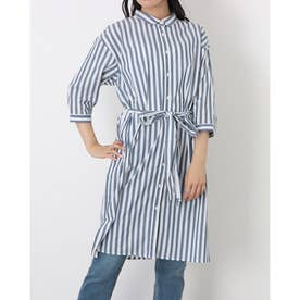 レギュラー衿 リボン付き七分袖シャツワンピース (ネイビー)