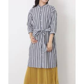 レギュラー衿 リボン付き七分袖シャツワンピース (ダークグレー)