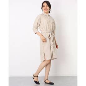 レギュラー衿 リボン付き七分袖シャツワンピース (ベージュ)