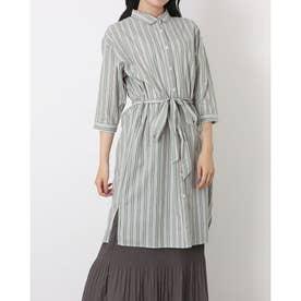 レギュラー衿 リボン付き七分袖シャツワンピース (グリーン)