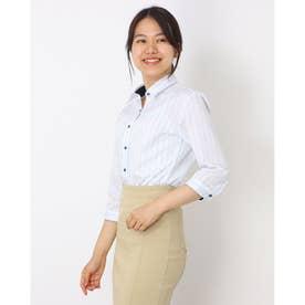 形態安定ノーアイロン レギュラー衿 七分袖ビジネスワイシャツ (ライトブルー)