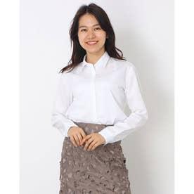 形態安定 ノーアイロン レギュラー衿 長袖ビジネスワイシャツ (ホワイト)