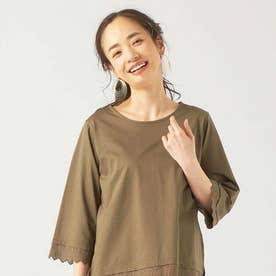 袖裾レース使い 七分袖ブラウス (カーキ)