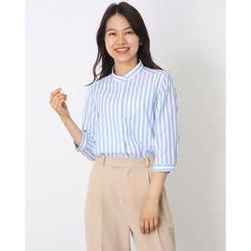 形態安定ノーアイロン スタンド衿 やわらかガーゼ 七分袖ビジネスワイシャツ (ブルー)