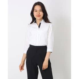 形態安定ノーアイロン スキッパー衿 七分袖ビジネスワイシャツ (ホワイト)