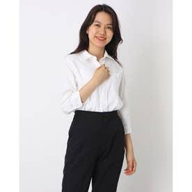 形態安定ノーアイロン レギュラー衿 やわらかガーゼ 七分袖ビジネスワイシャツ (ホワイト)