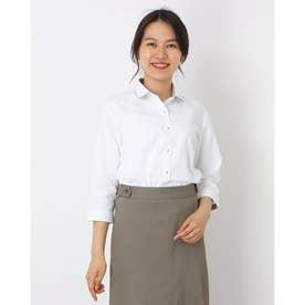 形態安定ノーアイロン ワイドダブル衿 七分袖ビジネスワイシャツ (ホワイト)