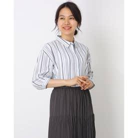 ワイド衿 ストライプ七分袖シャツチュニック (ブルー)