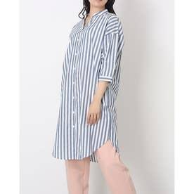 バンドスキッパー衿 七分袖シャツワンピース (ネイビー)
