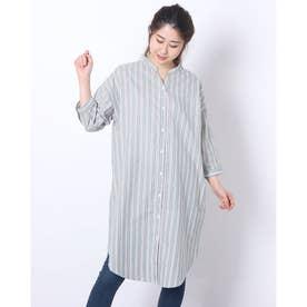 バンドスキッパー衿 七分袖シャツワンピース (グリーン)