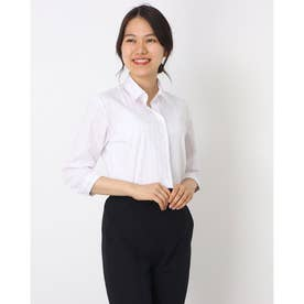 形態安定ノーアイロン スキッパー衿 七分袖ビジネスワイシャツ (ライトピンク)