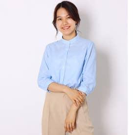 形態安定ノーアイロン スタンド衿 やわらかガーゼ 七分袖ビジネスワイシャツ (サックスブルー)
