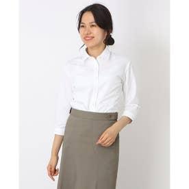 形態安定ノーアイロン レギュラー衿 七分袖ビジネスワイシャツ (ホワイト)