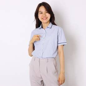 形態安定ノーアイロン ワイド衿  半袖ビジネスワイシャツ (ネイビー)