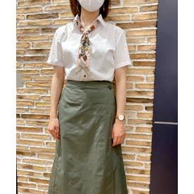形態安定ノーアイロン スキッパー衿 半袖ウィメンズシャツ (透け防止) (ホワイト)
