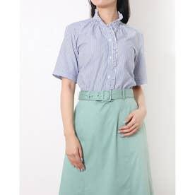 形態安定ノーアイロン 五分袖 フリル付 デザインシャツ スタンド衿 (ブルー)