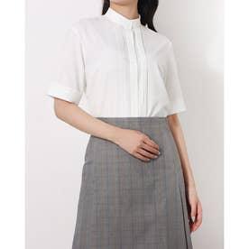 形態安定ノーアイロン 五分袖 デザインシャツ スタンド衿 (ホワイト)