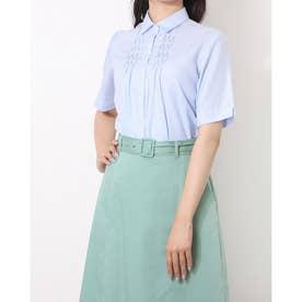 形態安定ノーアイロン 五分袖 デザインシャツ レギュラー衿 (サックスブルー)
