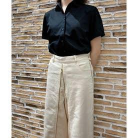 形態安定ノーアイロン レディース半袖ニットシャツ ワンピーススキッパー衿 (ブラック)