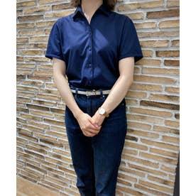 形態安定ノーアイロン レディース半袖ニットシャツ ワンピーススキッパー衿 (ネイビー)