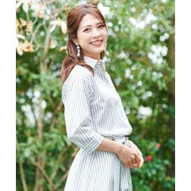七分袖 スキッパー衿シャツ&スカート セットアップ (ネイビー)