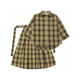 七分袖 スキッパー衿シャツ&スカート セットアップ (ダークベージュ)