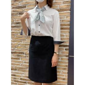 形態安定ノーアイロン レディース七分袖シャツ レギュラー衿 白×ストライプ織柄 (ホワイト)