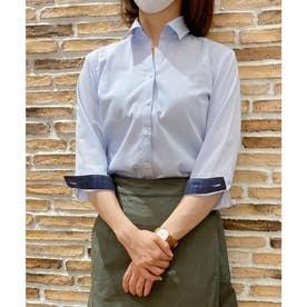 形態安定ノーアイロン レディース七分袖シャツ スキッパー衿 サックス×無地調 (サックスブルー)