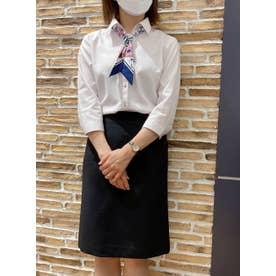 形態安定ノーアイロン レディース七分袖シャツ スキッパー衿 ピンク×無地調 (ライトピンク)