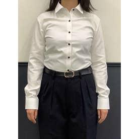 【透け防止】形態安定 レギュラー 長袖  ウィメンズビジネスシャツ (ホワイト)
