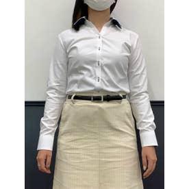 【透け防止】形態安定 スキッパー 長袖  ウィメンズビジネスシャツ (ホワイト)