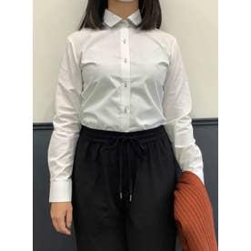 【透け防止】形態安定 ワイド 長袖  ウィメンズビジネスシャツ (ホワイト)