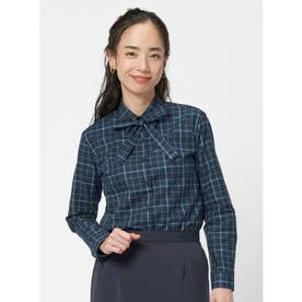 【SUPIMA】形態安定 レギュラー 綿100% 長袖ビジネスシャツ (ネイビー)