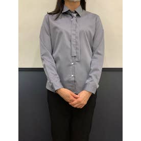 【SUPIMA】形態安定 レギュラー 綿100% 長袖ビジネスシャツ (ダークグレー)