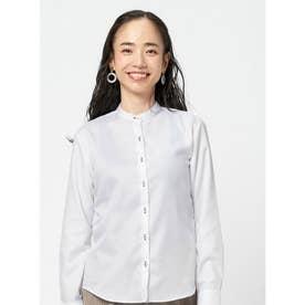【SUPIMA】形態安定 スタンド 綿100% 長袖ビジネスシャツ (ホワイト)
