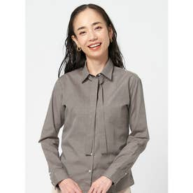 【SUPIMA】形態安定 レギュラー 綿100% 長袖ビジネスシャツ (ブラウン)