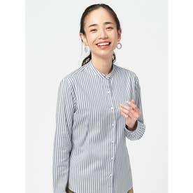 【SUPIMA】形態安定 スタンド 綿100% 長袖ビジネスシャツ (ネイビー)