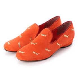 猫刺繍スリッポンシューズ (オレンジスエード)