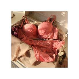 フラワーレースブレストクロスブラ&ショーツ 【返品不可商品】(ピンク)
