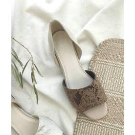 セパレートフラットサンダル /スクエアトゥ コンビ素材がおしゃれ 柔らかくて履きやすいぺたんこサンダ (ブラウン)