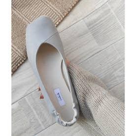 お米トゥパンプス / 踵ギャザーフラットシューズ 柔らかくて履きやすいぺたんこシューズ (ブルーグレー)