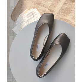 お米トゥパンプス / 踵ギャザーフラットシューズ 柔らかくて履きやすいぺたんこシューズ (ブロンズ)