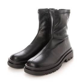 厚底ストレッチショートブーツ / スニーカーショートブーツ (ブラック)