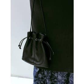フェイクレザー巾着BAG(ブラック)