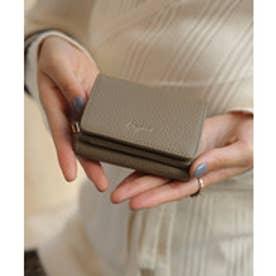 牛革三つ折りミニ財布 (OAK)