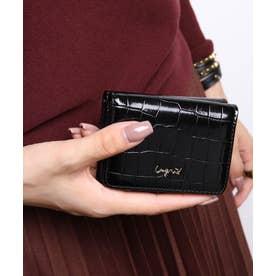 シャイニースモールクロコ 三つ折りミニ財布 (BLK)